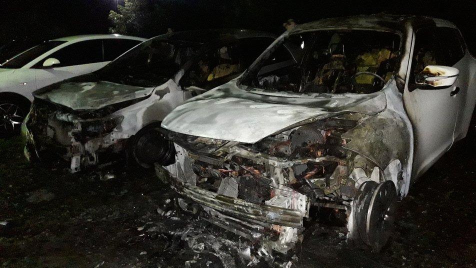 6 автівок згоріли на автостоянці вночі